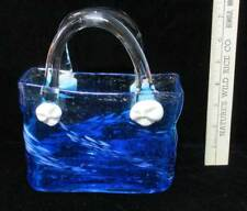 Glass Purse Hand Bag Blue Clear Handles Decorative Basket Art Work Flower Vase