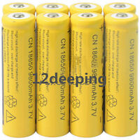 8pcs 18650 3.7V 9800mAh Yellow Li-ion Rechargeable Battery Cell For Torch iK
