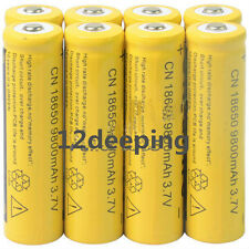 8pcs 18650 3.7V 9800mAh Yellow Li-ion Rechargeable Battery Cell For Torch RX