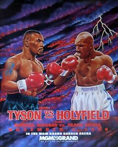 MIKE TYSON vs EVANDER HOLYFIELD 8X10 PHOTO BOXING POSTER PICTURE