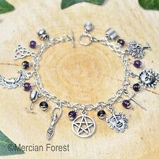 Wiccan Charm Bracelet with Amethyst - Pagan Jewellery, Wicca, Witch, Pentacle,