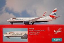 Herpa Wings 1:500 Boeing 737-800 British Vías respiratorias zs-zwg 530408