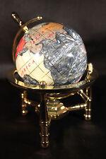 Genuine Multi-Gemstone Desktop Globe Gold Tone Base Black Pearl Globe Free S & H