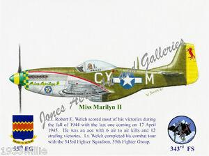 "55FG Lt Robert E Welch's P-51 ""Miss Marilyn II"" Giclee print by Willie Jones Jr"