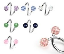 New Surgical Steel Twisted Barbell with 4mm Glitter Balls Tragus Labret Stud