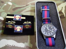 MWC G1098 AB watch with Blue Red Blue strap + Grenadier Gds Cufflink set bundle