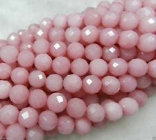 Perfect 8mm Faceted Pink Jade Round Gemstone Loose Beads 15""