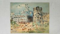 VIEW OF PARIS by JEAN DUFY D.A.C. NY Vintage Stamped Litho Print 11 x 14""