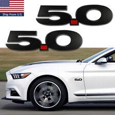 Pair 5.0 Side Fender Emblem Matte Black Trunk Badge Sticker for Ford Mustang GT