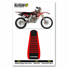 2005-2014 HONDA CRF 450 X Red/Black/Red RIBBED GRIPPER SEAT COVER BY Enjoy MFG