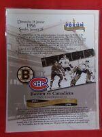 NHL MONTREAL CANADIENS ORIGINAL 1995 BOSTON BRUINS LAST GAME FORUM LINE-UP SHEET