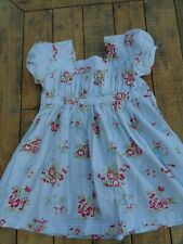 Powell Craft Blue Floral Cotton Summer Dress age 4-5