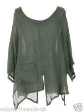 CUT SLASH LAGENLOOK QUIRKY LINEN POCKET TOP LAYERING BOHO ONE SIZE 12-22 - KHAKI