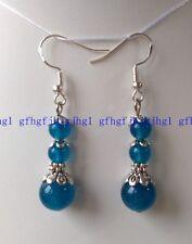 Natural 6mm 12mm ink blue Apatite Round Gemstones  925 SILVER Hook Earrings