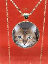 Bengal Cats Face Necklace Pendant - Silver Jewellery - Animal Cat Jewellery