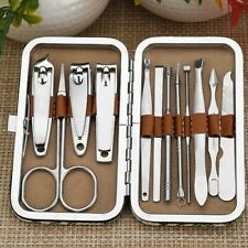 12Pcs/set Nail Care Personal Manicure Pedicure Set Travel Kit Nail Tools AaGVx
