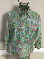 Ruby Rd Burnout Sheer Blazer Jacket Green Multicolor NWT$59  48335
