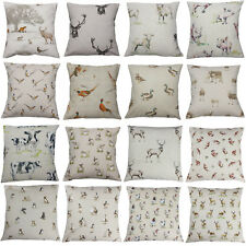 Country Animal Print Cushion Cover Stags Hare Cow Pig Pheasant Duck