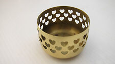 Partylite brass / plated candle holder with heart cut out detail 7cm diameter