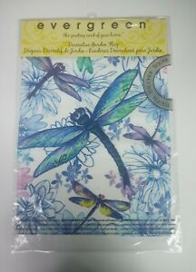 "Evergreen Decorative Garden Flag Dragonfly & Flowers 12"" X 18"""