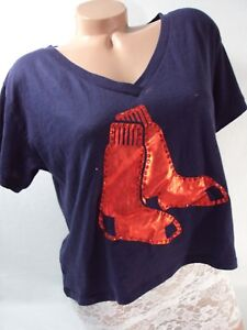 Victoria's Secret PINK Women's Large Boston Red Sox T Shirt Crop Top Tee NWT