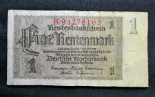 OLD BANK NOTE OF THIRD REICH GERMANY 1 RENTENMARK 1937 NO. K94276165