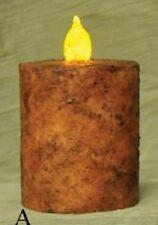 "Primitive Decor Burnt Mustard Bat. Pillar Candle, 2""x3"", Wax Dipped, 6 Hr Timer"