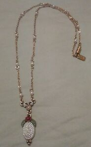 1928 Gold chain w/faux PEARLS & 'Y' Shaped Pendant-studded/Pink Rose & Leaves