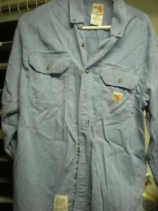 Carhartt MEDIUM LN Flame Resistant FR Work Shirts Blue from Cintas (VG COND)
