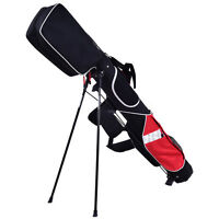 "5"" Sunday Golf Bag Stand 7 Clubs Carry Pockets Travel Storage Lightweight New"