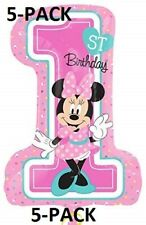 5-PACK Disney Minnie Mouse 1st Birthday Girl Pink Balloons Foil