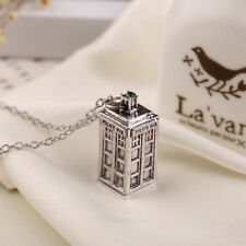 Doctor Who TARDIS Police Box Pewter  Long Chain Pendant Necklace & Gift added