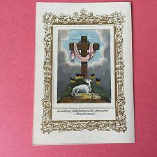 Image Pieuse Rehaussée Gouache Agnus Dei XIXè HOLY CARD 19thC Santino