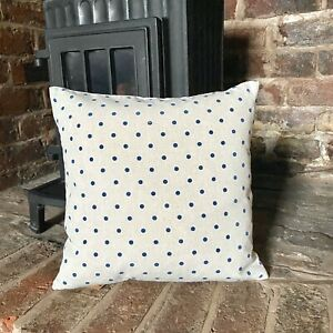 35. Handmade Shabby Chic Blue polka dot LINEN Cotton Cushion Cover.Various sizes