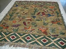Mexican Folk Art Woven Tapestry Blanket Decor Burros Cactus Guitars Sombreros