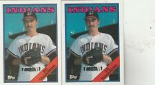 FREE SHIPPING-MINT-1988 Cleveland Indians Topps #421 Ed VandeBerg-2 CARDS