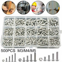 500pcs Assorted M3 M4 M5 Stainless Steel Hex Screws & Socket Bolts and Nuts Kit