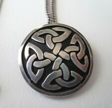 """925 Sterling Round Celtic Irish Pendant Necklace Chain Disk Four Corner Knot 18"""""""