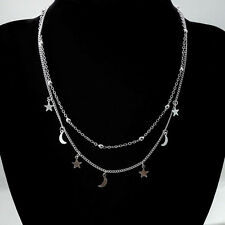 Gift Double Chain Multilayer Moon Star Pendant Necklace Gold And Silver Plated