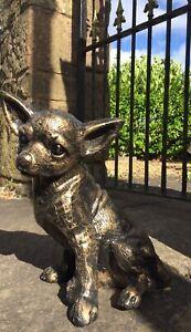 Sitting Chihuahua Dog Statue Garden or Interior Ornament