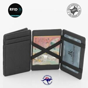 Flip Magic Genuine Leather Credit Card RFID Wallet Slim Line Credit Card Holder