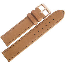18mm Fluco Tan Smooth Pigskin Leather ROSE GOLD Buckle German Watch Band Strap