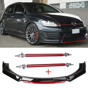 For VW Golf MK7.5 MK7 MK6 MK5 GTI GTD Front Bumper Lip Spoiler Trim + Strut Rods