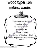 Woods for Magick Wand 1pg Spells Rituals for Wicca Book of Shadows Pagan
