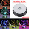 Round Crystal Glass Laser LED Electric Light Up Stand Base Display 7 Color US