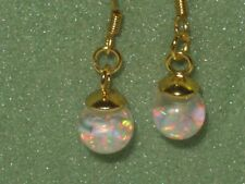 BEAUTIFUL FIERY FLOATING OPAL SNOW GLOBE  OPAL EARRINGS 14k gold filled