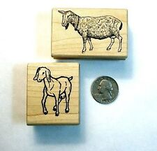 Goats - Set of (2) Rubber Stamp, Wood Mounted