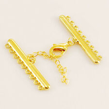 47mm Gold Plated Lobster Clasp & chain Finding for 9 strands Jewelry (IFD30)a
