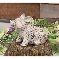 "Medium Pig Resin Figurine - 5"" H x 2.5"" W Painted & Distressed - Farmhouse Decor"