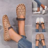 Women Hollow Out Flat Shoes Retro Sandals Buckle Shoes Weave Strap Comfy Shoes